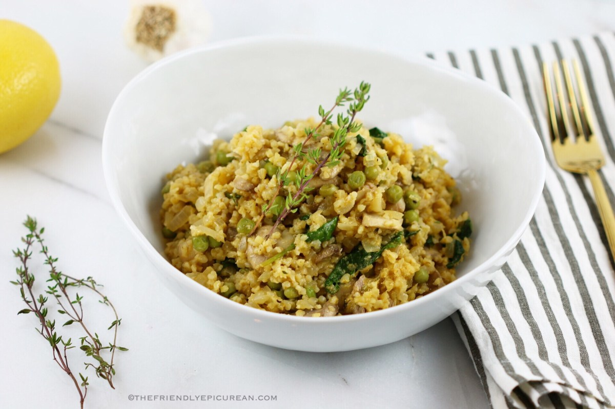 Bulgur Risotto with Mushrooms, Peas, and Kale