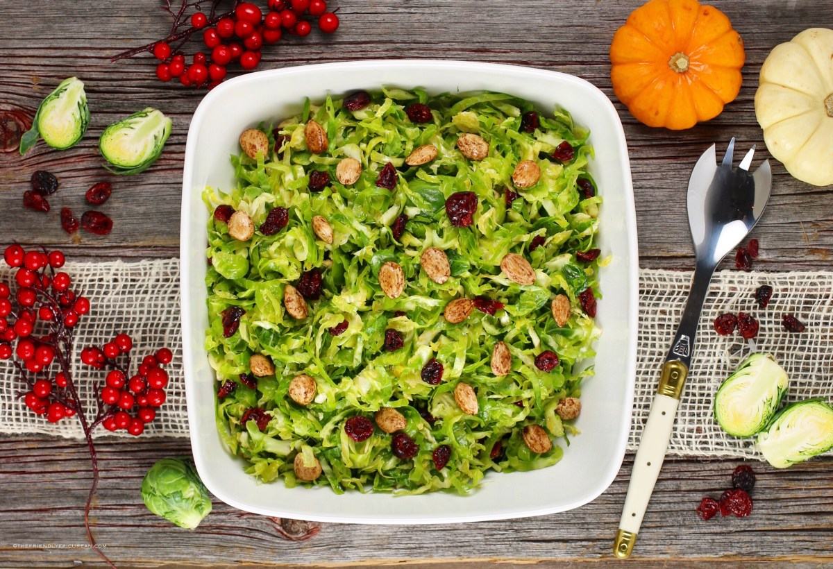 Shredded Brussels Sprouts Salad with Pumpkin Vinaigrette