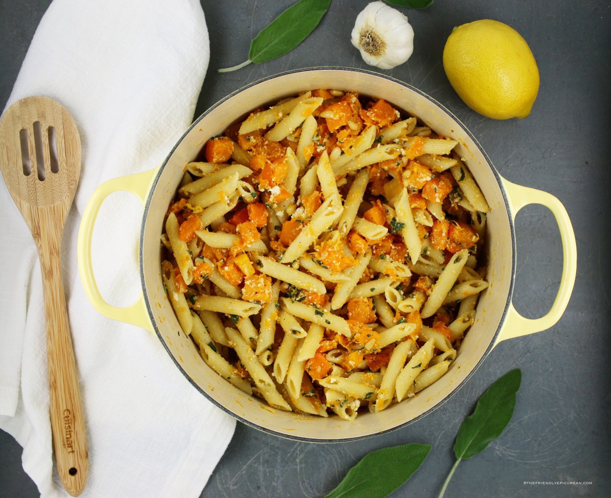 Penne with Roasted Butternut Squash, Sage, and Ricotta