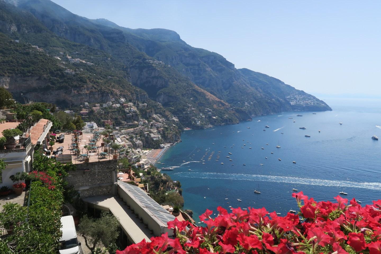 Beautiful Positano. Costiera Amalfitana on the road.