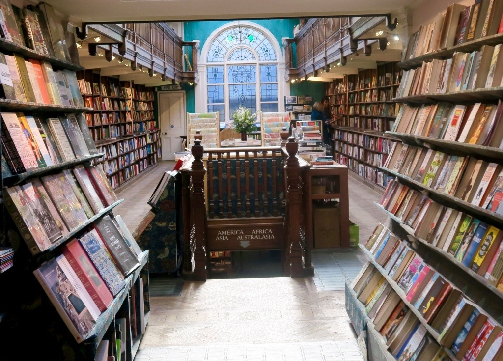 Books arranged by Country at Daunt books Marylebone in London