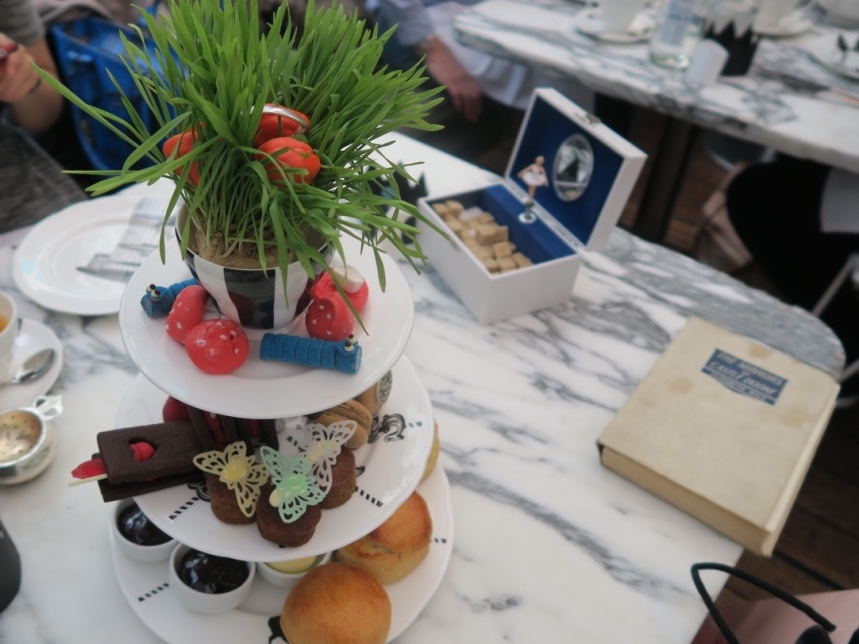 Alice in Wonderland afternoon tea stand at Sanderson hotel London