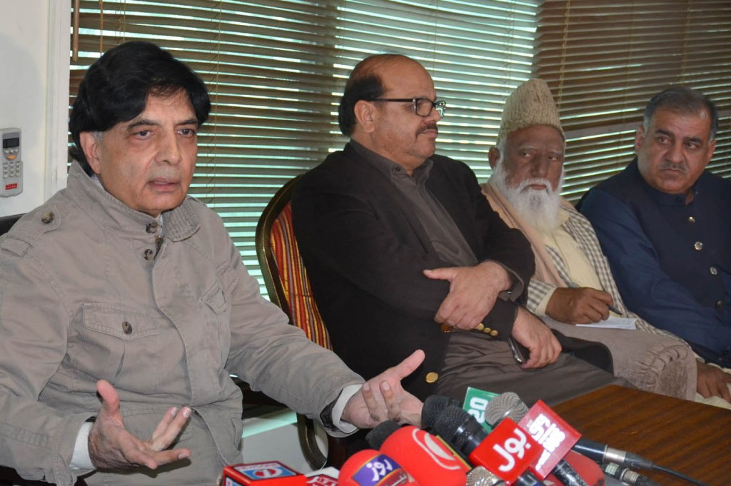 TAXILA: Former Federal Minister Chaudhry Nisar Ali Khan addressing a press conference at Kohistan Secretariat. INP PHOTO