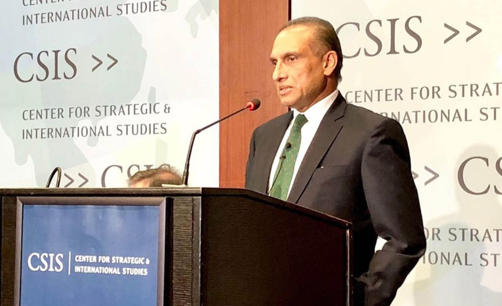 WASHINGTON: Ambassador Aizaz Ahmad Chaudhry addressing at Center for Strategic and International Studies (CSIS).INP PHOTO