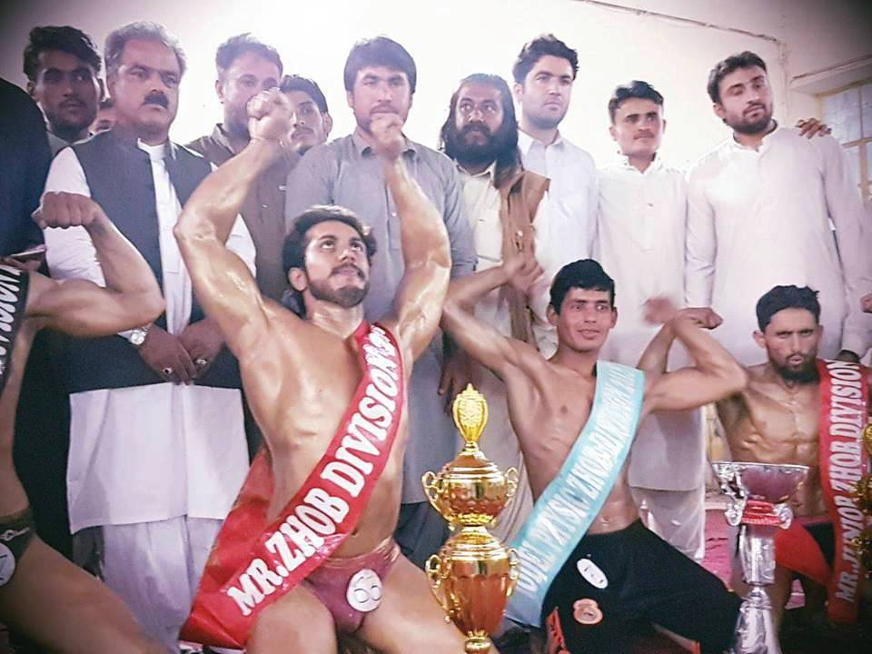 ZHOB____ Body-builders flex muscles for Mr Zhob in inter-division championship
