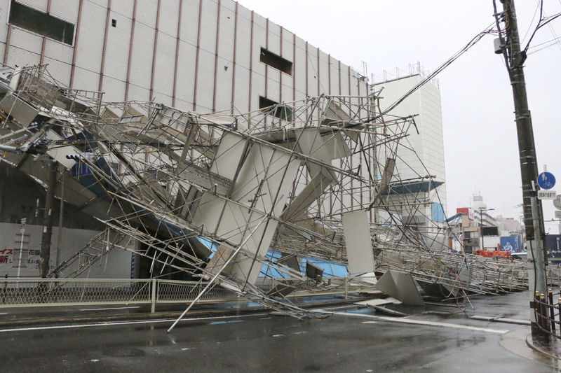 A building damaged by Typhoon Jebi is seen in Osaka, western Japan,in this photo taken by Kyodo September 4, 2018. Mandatory credit Kyodo/via REUTERS  ATTENTION EDITORS - THIS IMAGE WAS PROVIDED BY A THIRD PARTY. MANDATORY CREDIT. JAPAN OUT. NO COMMERCIAL OR EDITORIAL SALES IN JAPAN.