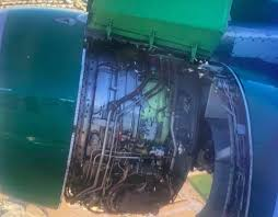 Passengers scream in horror as plane's engine appears to fall apart mid-air