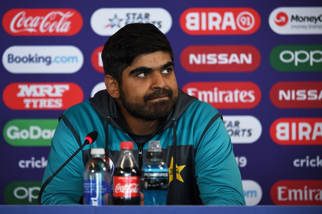 Pakistan's Haris Sohail attends a press conference at Headingley in Leeds, northern England ahead of their World Cup cricket match against Afghanistan on June 28, 2019. (Photo by Paul ELLIS / AFP)        (Photo credit should read PAUL ELLIS/AFP/Getty Images)