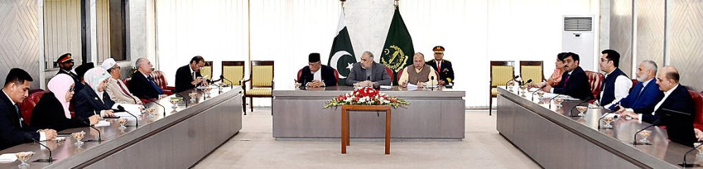 APP44-05 ISLAMABAD: November 05 - Speaker National Assembly Asad Qaiser in a meeting with ASEAN Parliamentary delegation led by President of Majlis Perundingan lslam Malaysia (MAPIM) Dato, Muhammad Azmi Abdul Hamid in Parliament House. APP