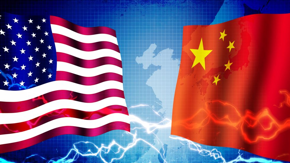 Political confrontation between USA and China / web banner back