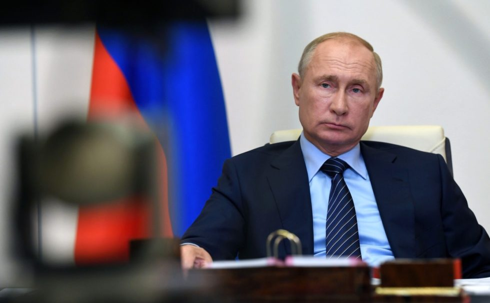 MOSCOW, RUSSIA- Russian President Vladimir Putin held a video conference on the ecological situation in the city of Usolye-Sibirskoye, Irkutsk region in Moscow, Russia on July 30, 2020.