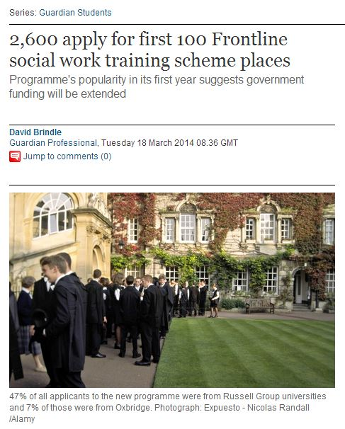 Guardian – 2,600 apply for first 100 Frontline social work training scheme places