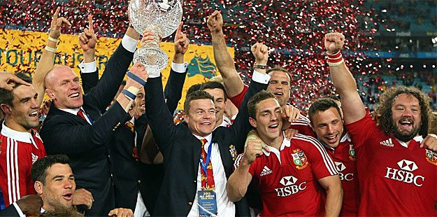 Lions celebrate their series triumph. Picture Getty Images