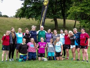 The Scrum Doctor, Peter Bracken, puts Cooke Women RFC through their paces at a coaching session.