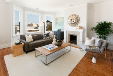 Open Living Room w/ Fireplace