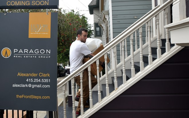 Home stagers help to prep a property for sale in San Francisco on Thursday, August 20, 2015. Many home sellers are waiting to list their homes until September; one of the hottest months of the year for real estate sales. (JOSH EDELSON / SPECIAL TO THE CHRONICLE)