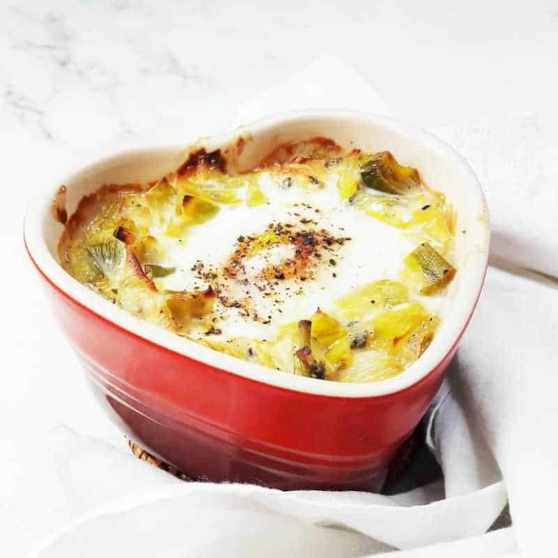 Oven Baked Eggs With Leeks & Blue Cheese