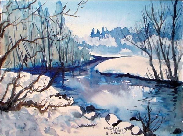 Paint Icy Cold Landscape Frugal Crafter