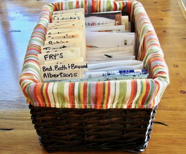 coupon organizer basket
