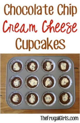 Chocolate Chip Cream Cheese Cupcakes Recipe from TheFrugalGirls.com