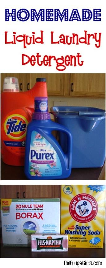 Homemade Liquid Laundry Detergent Recipe from TheFrugalGirls.com