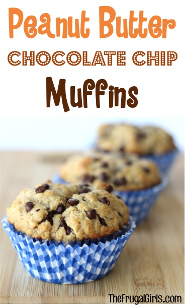 Peanut Butter Chocolate Chip Muffins Recipe from TheFrugalGirls.com