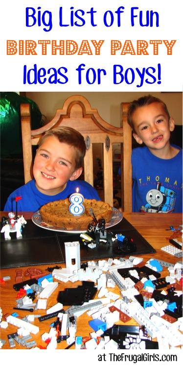 Boys Birthday Party Ideas at TheFrugalGirls.com