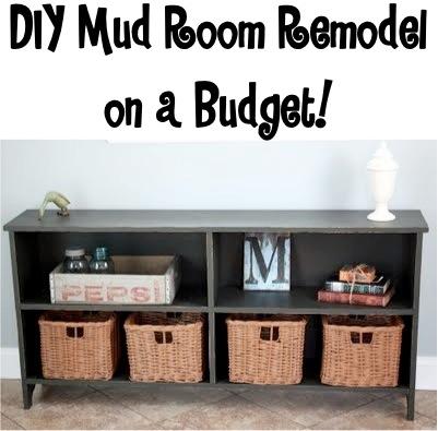 DIY Laundry Mud Room Storage at TheFrugalGirls.com