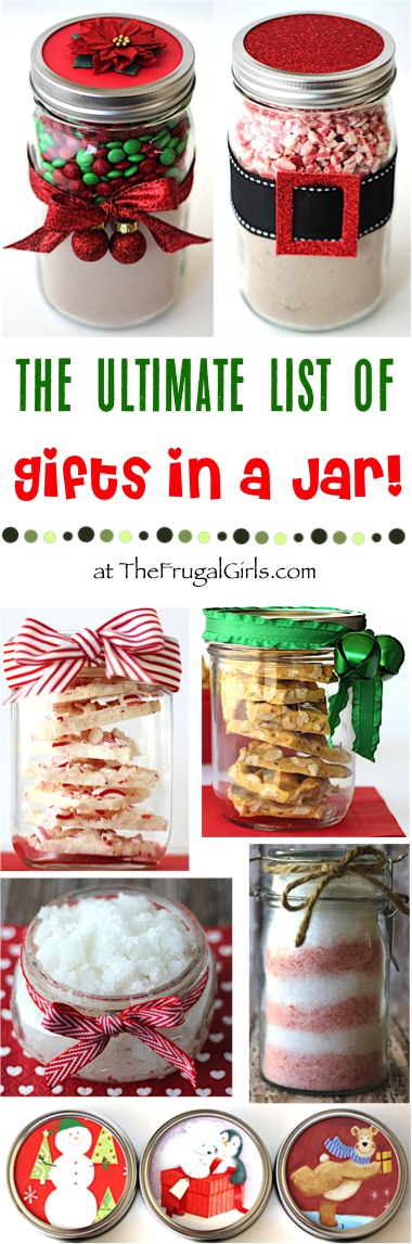Gifts in a Jar Ultimate List of Easy Mason Jar Gift Ideas from TheFrugalGirls.com