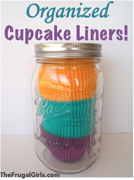 Organized Cupcake Liners in a Jar