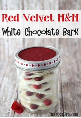 Red Velvet M&M White Chocolate Bark in a Jar