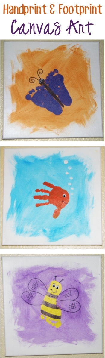 How to Make Handprint Canvas Art Tutorial! {and Footprint} at TheFrugalGirls.com