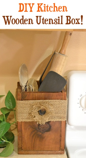 DIY Wooden Utensil Box with burlap flower at TheFrugalGirls.com