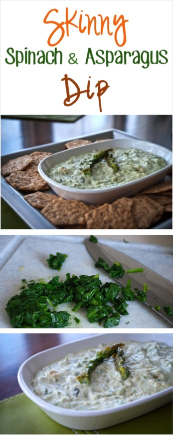Healthy Spinach Dip Recipe with Asparagus at TheFrugalGirls.com