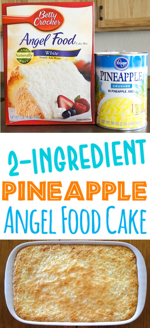 Pineapple Cake Recipe Easy Homemade Dump Cake with Crushed Pineapples and Angel Food Box Cake Mix - Just 2 Ingredients