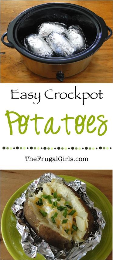 Crock Pot Baked Potatoes Recipe at TheFrugalGirls.com