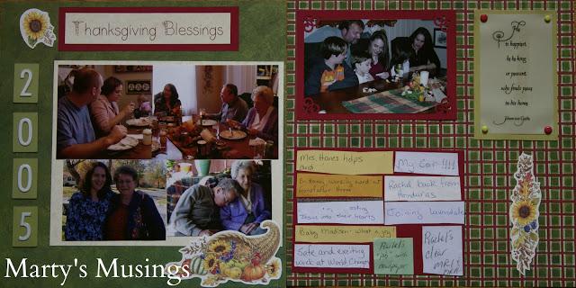 Thanksgiving Blessings Scrapbook Idea