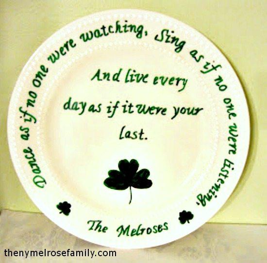 Shamrock Irish Blessing Plate