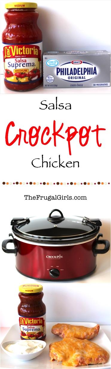 Crockpot Chicken Salsa Recipe - from TheFrugalGirls.com
