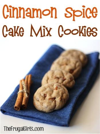 Cinnamon Spice Cake Mix Cookie Recipe at TheFrugalGirls.com