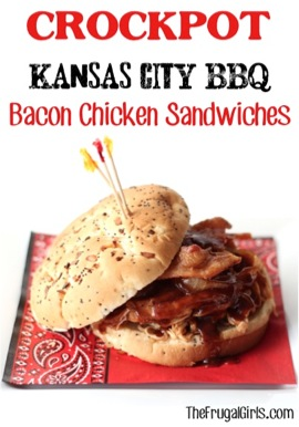 Crockpot Kansas City BBQ Bacon Chicken Sandwiches