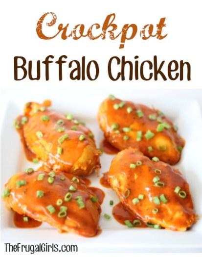 Easy Crockpot Buffalo Chicken Recipe at TheFrugalGirls.com