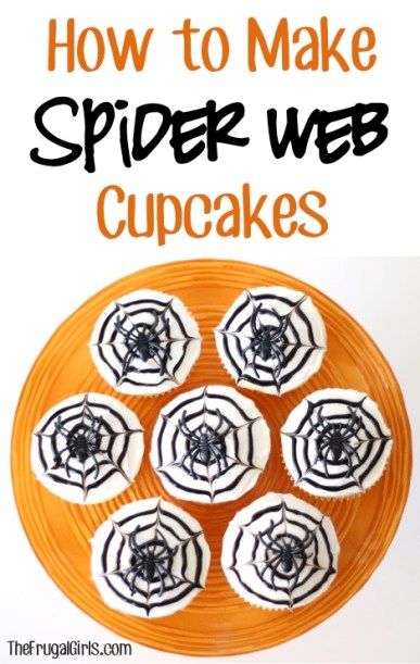How to Make Spider Web Cupcakes at TheFrugalGirls.com
