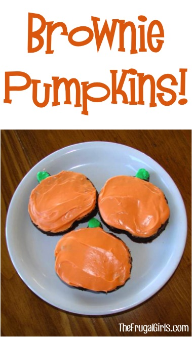 Brownies Decorated as Pumpkins from TheFrugalGirls.com