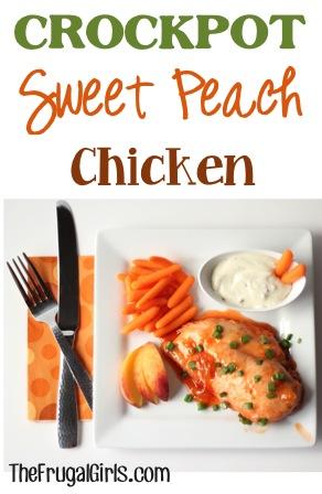 Crockpot Sweet Peach Chicken Recipe - at TheFrugalGirls.com