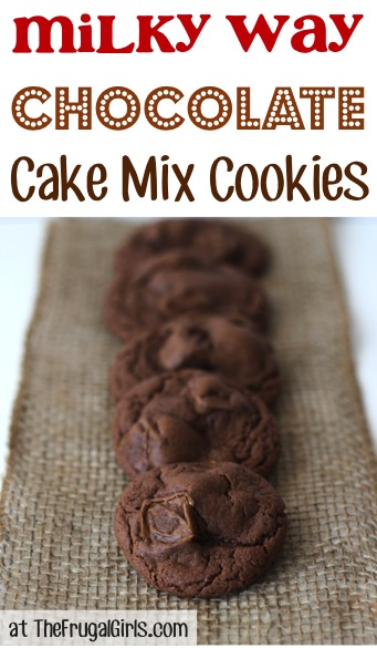 Milky Way Chocolate Cake Mix Cookies Recipe - from TheFrugalGirls.com