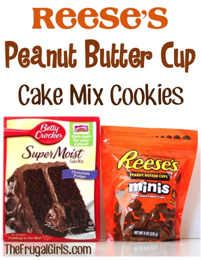 Reeses Peanut Butter Cup Cake Mix Cookies Recipe at TheFrugalGirls.com