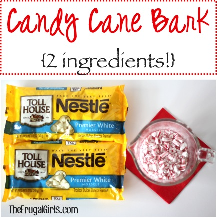 Candy Cane Bark Recipe - from TheFrugalGirls.com