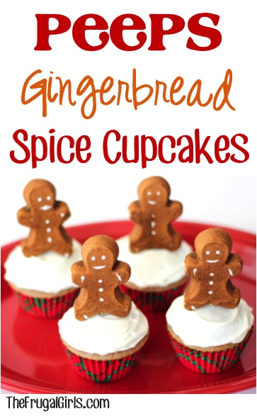 Peeps Gingerbread Spice Cupcakes - at TheFrugalGirls.com