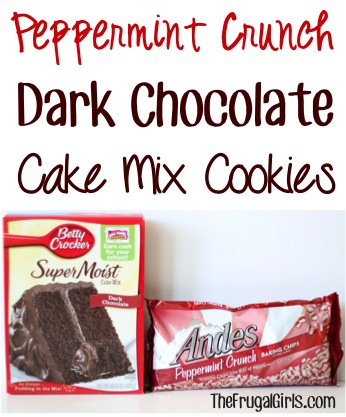 Peppermint Crunch Dark Chocolate Cake Mix Cookies Recipe - from TheFrugalGirls.com